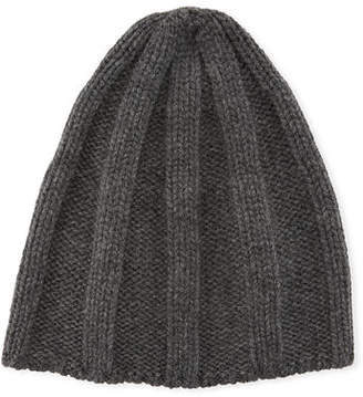 Brunello Cucinelli Men's Cashmere Ribbed Beanie Hat