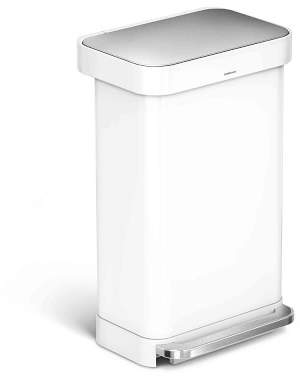 Williams-Sonoma Williams Sonoma simplehumanTM; Liner Rim Rectangular Step Can, White Stainless-Steel