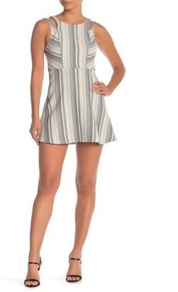 BCBGeneration Stripe Shoulder Cutout Dress