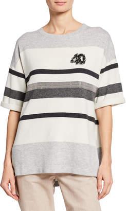 Brunello Cucinelli Striped-Cashmere Short-Sleeve Sweater