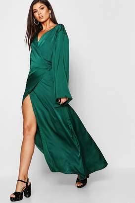 boohoo Wrap Front Satin Maxi Dress