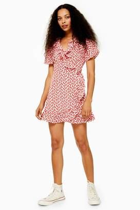 Topshop PETITE Floral Ruffle Wrap Mini Dress