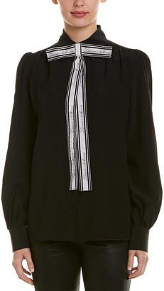 Dolce & Gabbana Front Logo Tie Silk Blouse