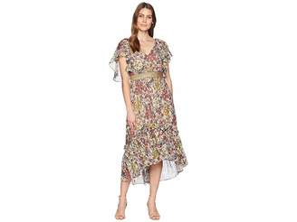 Taylor Flutter Sleeve Printed Chiffon Cinched Waist Maxi Dress Women's Dress