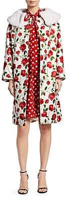 Michael Kors Women's Faux Mink Collar Rose-Print Coat