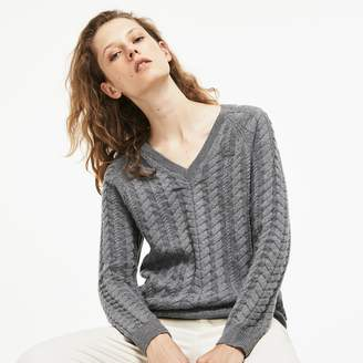 Lacoste Women's V-neck Cotton And Wool Cable Knit Sweater