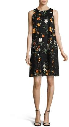 ECI Embroidered Chiffon Shift Dress