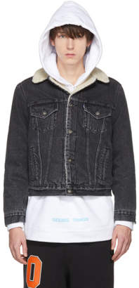 Off-White Black Levis Made and Crafted Edition Sherpa Trucker Jacket