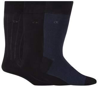 Calvin Klein Pack Of Three Navy Birdseye Woven Socks