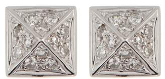 Ef Collection 14K White Gold Diamond Pave Mini Pyramid Stud Earrings - 0.18 ctw