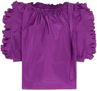 See by Chloe ruffle-trimmed taffeta top