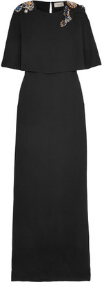 Lanvin - Cape-effect Embellished Crepe Gown - Black $4,350 thestylecure.com
