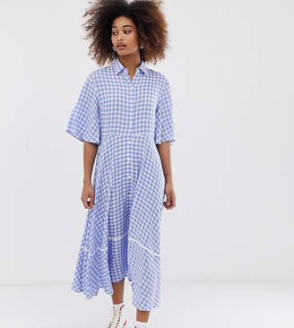 Sister Jane exclusive button through midi shirt dress with full skirt