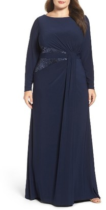 Plus Size Women's Adrianna Papell Sequin Inset Jersey Gown $199 thestylecure.com