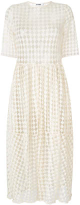 Jil Sander ruched waist short sleeved dress