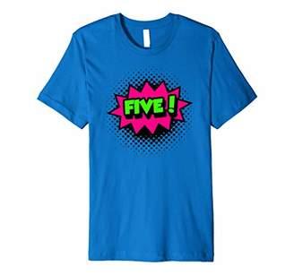 PREMIUM Kids Five! 5th Birthday T-Shirt Super Hero Comics