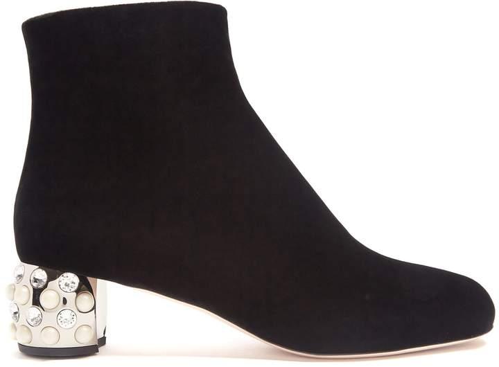 MIU MIU Embellished block-heel velvet boots