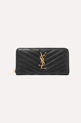Saint Laurent Zip Around Quilted Textured-leather Wallet - Black