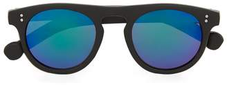 Topman Black Flat Top Rounded Sunglasses