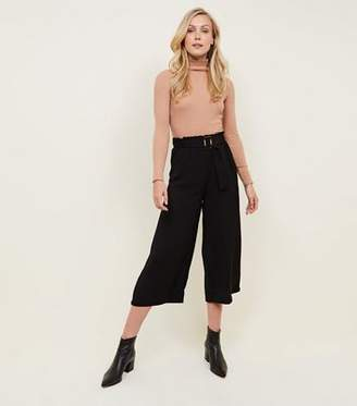 New Look Black Cropped Waist Buckle Culottes
