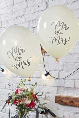 boohoo Ginger Ray Wedding Mr & Mrs Balloon 10Pck