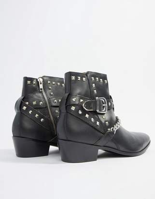 House of Hounds House Of Hounds Jasper studded cuban boots in black leather