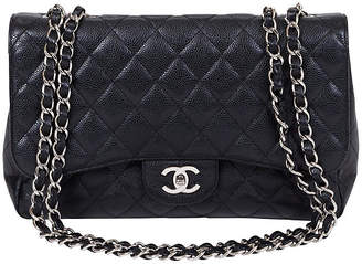 One Kings Lane Vintage Chanel Black Caviar Jumbo Single Flap - Vintage Lux
