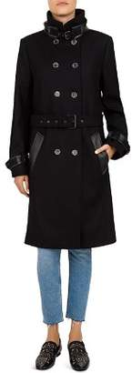 The Kooples Leather-Trimmed Belted Double Breasted Coat