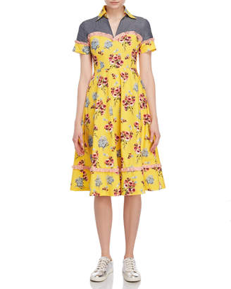 I'M Isola Marras Floral Collared Fit & Flare Dress