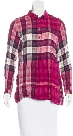 Burberry Brit Long Sleeve Exploded Check Blouse