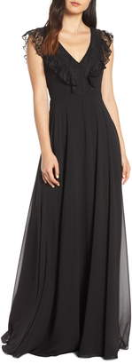Paige Hayley Occasions Lace V-Neck Chiffon Evening Dress