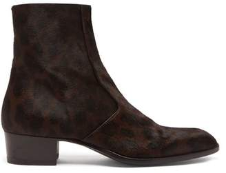 Saint Laurent Wyatt 40 Calf Hair And Leather Ankle Boots - Mens - Dark Brown