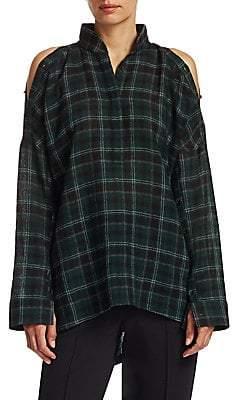 Akris Punto Women's Flannel Wool Cold-Shoulder Blouse