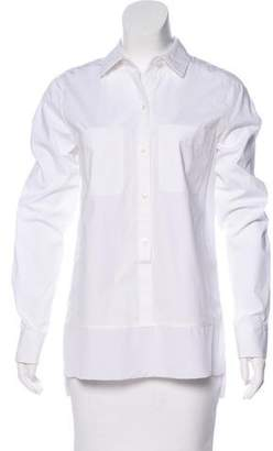 Kaufman Franco KAUFMANFRANCO Silk-Trimmed Button-Up Top w/ Tags