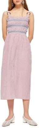 Topshop Seersucker Stripe Midi Dress