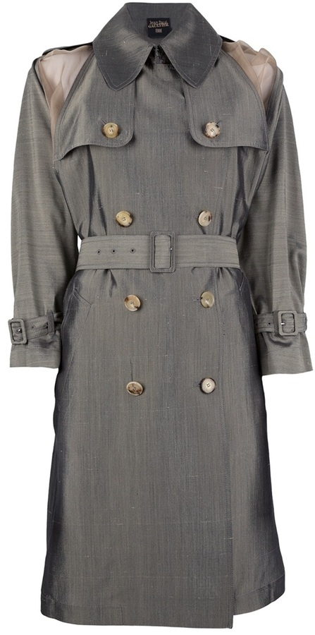 Jean Paul Gaultier contrast double breasted trench
