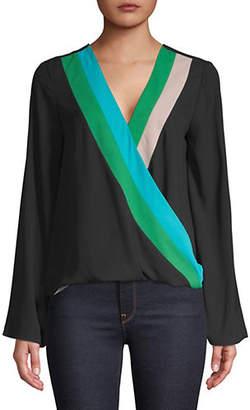 INC International Concepts Petite Colourblock Surplice Wrap Top