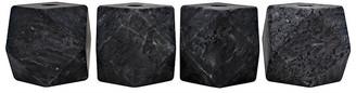 Noir Set of 4 Polyhedron Marble Candleholders - Black
