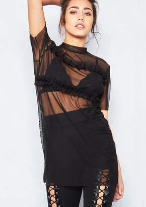 Missy Empire Missyempire Alexi Black Frill Mesh T Shirt Dress