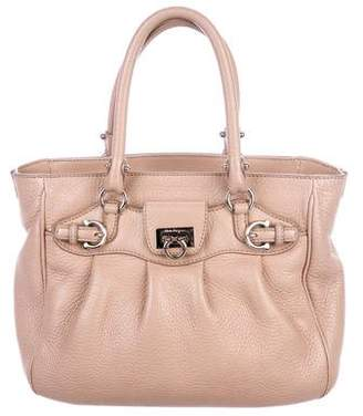 Salvatore Ferragamo Pebbled Leather Handle Bag