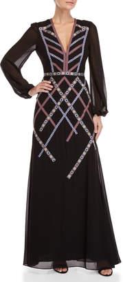 BCBGMAXAZRIA Bias Embroidered Band Maxi Dress