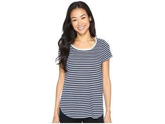 Mod-o-doc Heather Yarn Dye Stripe Short Sleeve Tee w/ Back Contrast Women's T Shirt