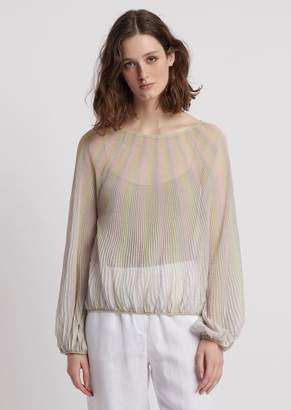 Emporio Armani Striped Voile Top With Balloon Sleeves