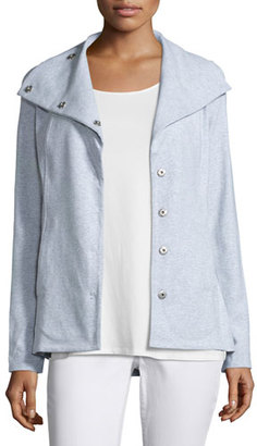 Eileen Fisher Snap-Front Long Jacket W/Pockets, Dark Pearl $258 thestylecure.com