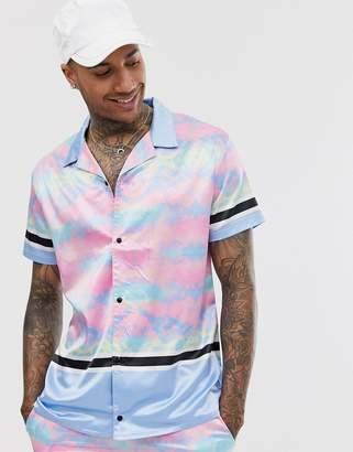 Night Addict tie dye panel satin revere collar shirt