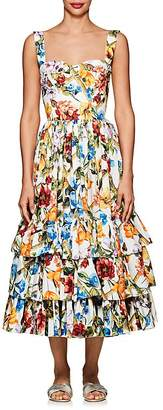 Dolce & Gabbana Women's Floral & Bug-Print Cotton Poplin Midi-Dress