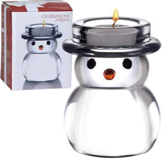 Mikasa Rejoice Glass Snowman Tealight Holder