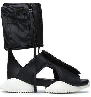 Rick Owens X Adidas Cutout Shell And Neoprene High-Top Sneakers