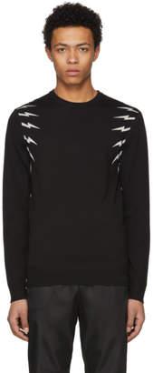 Neil Barrett Black and White Fair Isle Thunderbolt Sweater