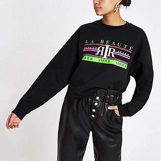 River Island Womens Black 'La beaute' neon print sweatshirt